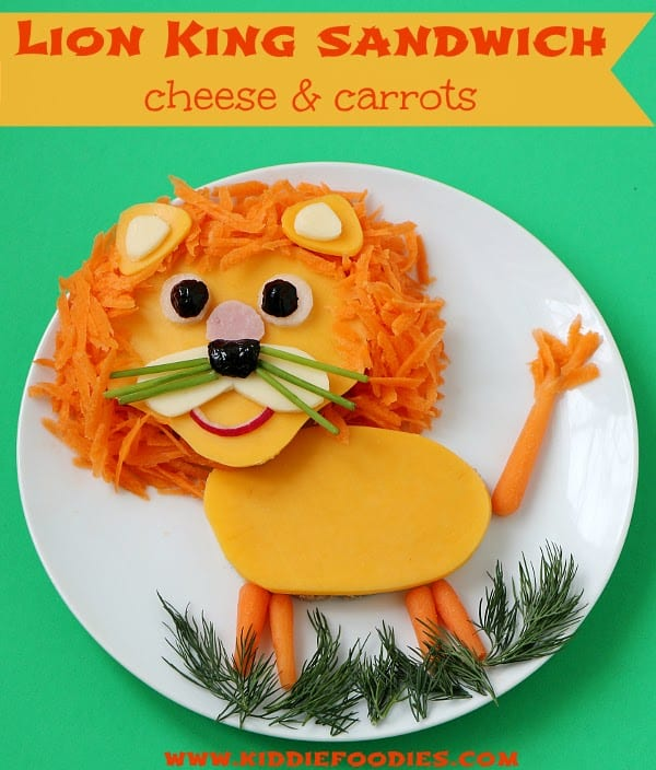 Lion King sandwich cheese and carrots